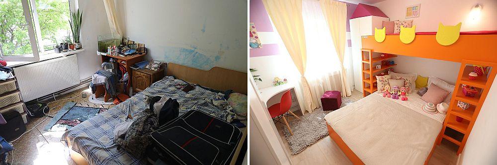 Camera fetelor mici înainte și după renovarea făcută de către echipa Visuri la cheie.