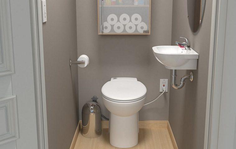 Spațiu mic, cât un dulap, dar potrivit pentru un wc de serviciu? Cu pompele SFA de la Saniflo poți avea mica baie la care ai visat.