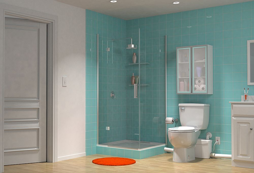 Pompa de tocare și evacuare la vedere, la fel ca și țevile de legătură de la duș și lavoar.