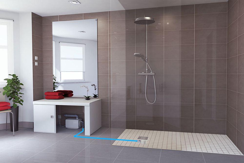 Pompa de tocare și evacuare poate fi montată și doar pentru instalarea unui duș acolo unde acesta nu exista inițial.