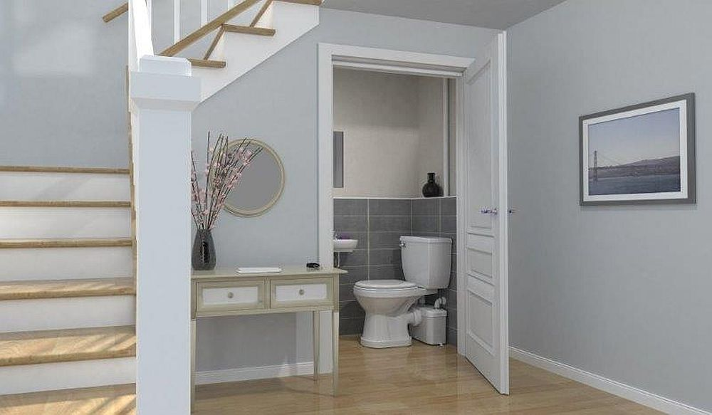 Cu ajutorul sistemului SFA cu pompa de tocare și evacuare îți poți face o baie suplimentară în spații precum cele de sub scara interioară.