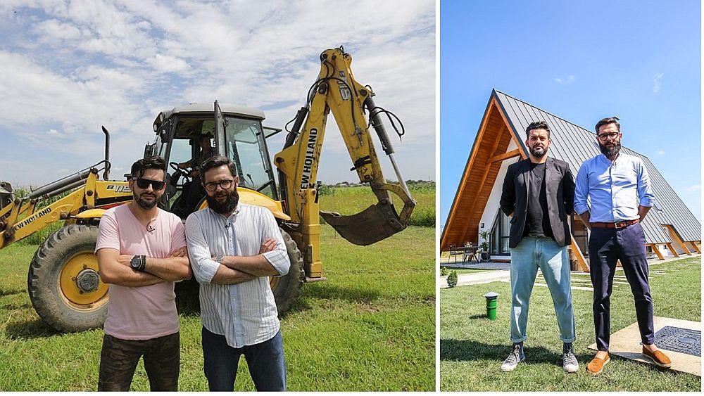 Arhitecții Ciprian Vlaicu (stânga) și Valentin Ionașcu înaite și după finalizarea casei pe care au proiectat-o.