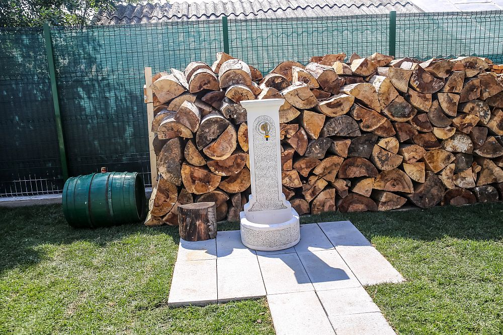 Pe aceeași linie cu cotețul de găini sunt stivuite lemnele pentru centrala termică a casei, iar în fașa lor este o fântână cu apă.