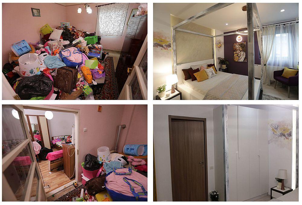 Înainte și după renovarea camerei Ceciliei. Înainte, aici spațiul era folosit pentru depozitarea lucrurilor adunate peste timp. După renovare camera a fost amenajată ca și dormitor al Ceciliei după indicațiile Cristinei Joia.