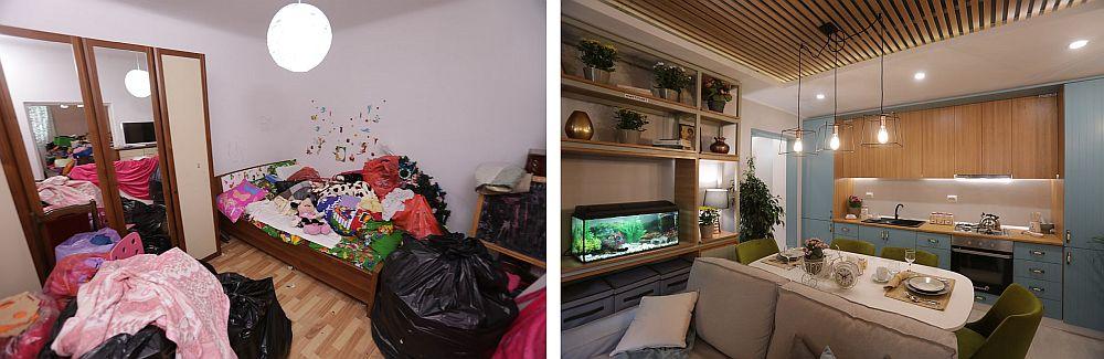 Înainte și după renovarea camerei de zi. Pe peretele unde era patul acum este bucătăria, iar în locul dulapului este biblioteca din actual living.