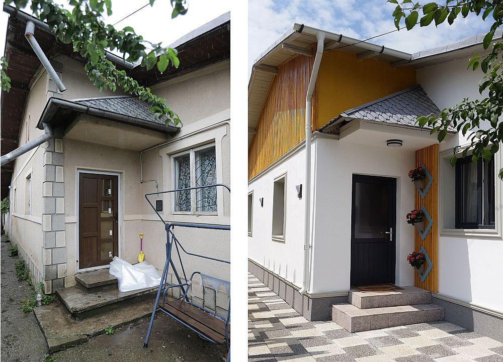 Casa cu zona de intrare înainte și după renovarea făcută de către echipa Visuri la cheie.