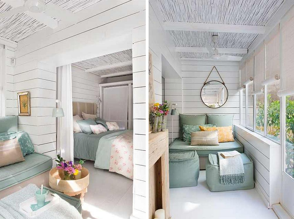 Dormitorul matrimonial este separat de living doar printr-o draperie, având în vedere spațiul mici existent aici, care nu ar fi permis mobilarea micului living în prezența unei uși. Bucătăria este deschisă către zona de intrare unde sunt situate simetric cele două canapele mici realizate pe comandă. La nevoie, aceste canapele pot fi transformate în locuri de dormit pentru oaspeți, având în vedere funcțiunea de casă de vacanță a acestei locuințe mici.