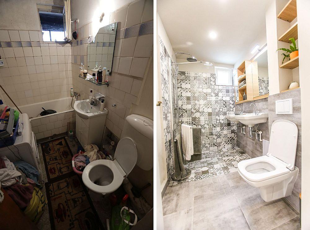 Baia înainte și după renovare. Ciprian a prevăzut ca baia familiei să aibă zonă de duș, iar în locul unui lavoare să existe două pentru ca diminețile familiei să fie mai puțin aglomerate. Gresia de tip patchwork este de la Dedeman, la fel ca și obiectele sanitare, panoul de duș și accesoriile. Mobila este realizată pe comandă la Martplast.