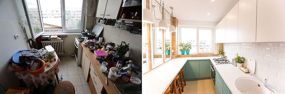 Bucătăria înainte și după renovare. Dimensiunile mici ale bucătăriei de circa 6 mp au fost o adevărată provocare pentru mine, dar am reușit să configurez totul astfel ca la final să existe și un loc de luat masa.