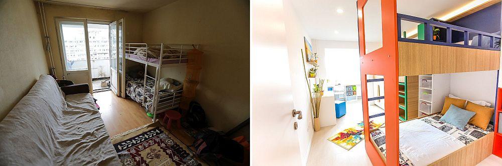 Camera copiilor mici înainte și după renovare. În această cameră care a fost extinsă către balcon au fost prevăzute tei locuri de dormit, birouri și dulapuri pentru cele două fete ale familiei și băiatul cel mai mic ca vârstă. Proiectul a fost conceput de Ciprian Vlaicu. Înainte aici dormeau băieții mari, dar extinderea către balcon a permis instalarea birourilor necesare pentru cei trei copii care merg la școală.