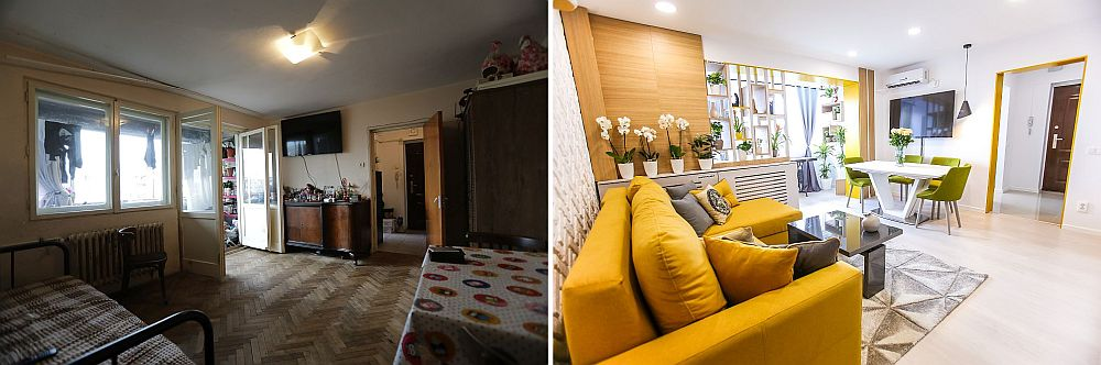 Livingul înainte și după renovare cu zona de tv. Locul pentru tv a fost păstrat, dar evident tot decorul schimbat.
