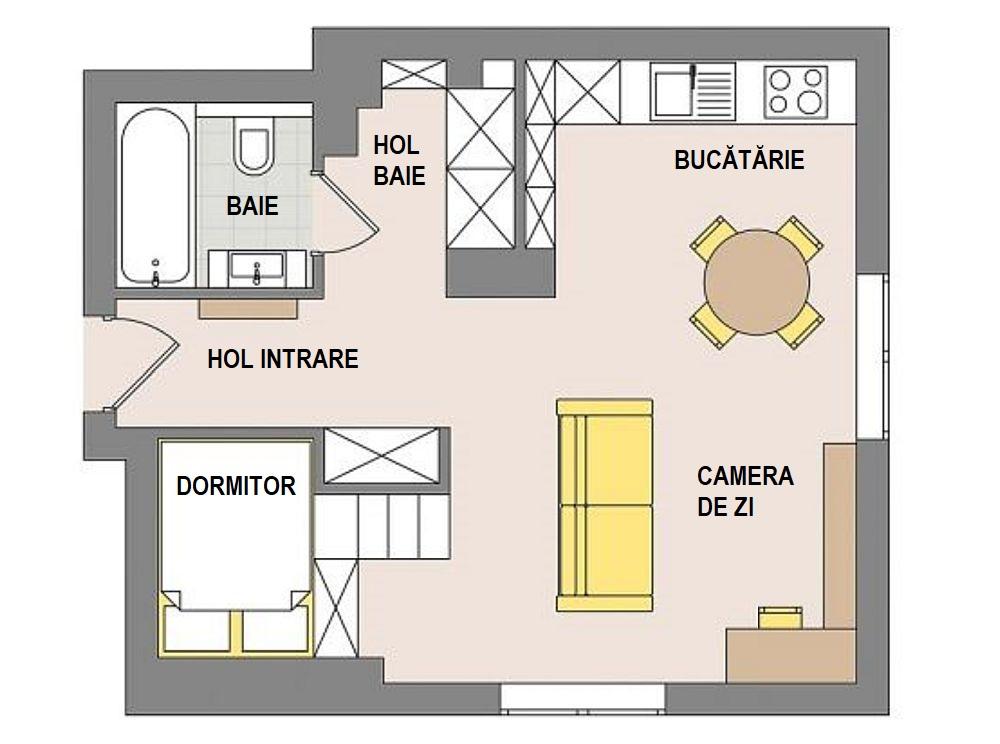 Înainte de amenajare garsoniera avea spațiul bucătăriei separat față de cameră. Locul unde este așezat acum patul era înainte un loc de hol la intrarea în casă, iar ușa de la baie se deschidea către acest hol. De remarcat poziția ferestrelor, care ajută mult în ambianța nou modificată a locuinței. Arhitecții au prevăzut ca după renovare numărul ușilor interioare să fie redus la minimum, baia fiind singura delimitată cu ușă. Apoi, au separat spațiile prin mobilare, dar au obținut o cameră aerisitp, largă și luminoasă, care dă o senzație de bine.
