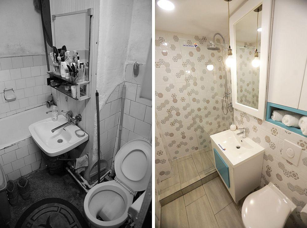 Baia înainte și după renovarea făcută de către echipa Visuri la cheie.