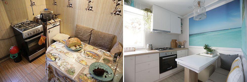 Locul de luat masa în bucătărie înainte și după renovarea făcută de echipa Visuri la cheie.