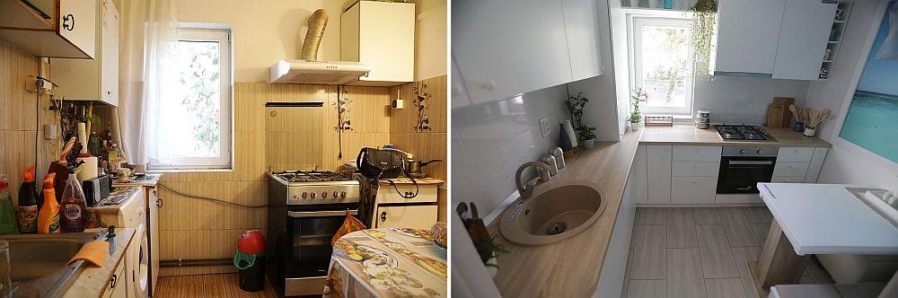 Bucătăria înainte și după renovarea făcută de echipa Visuri la cheie.