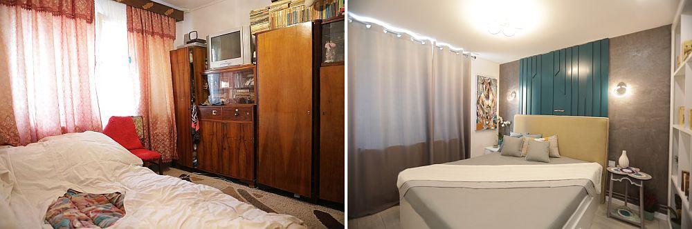 Dormitorul părinților înainte și după renovarea făcută de către echipa Visuri la cheie.