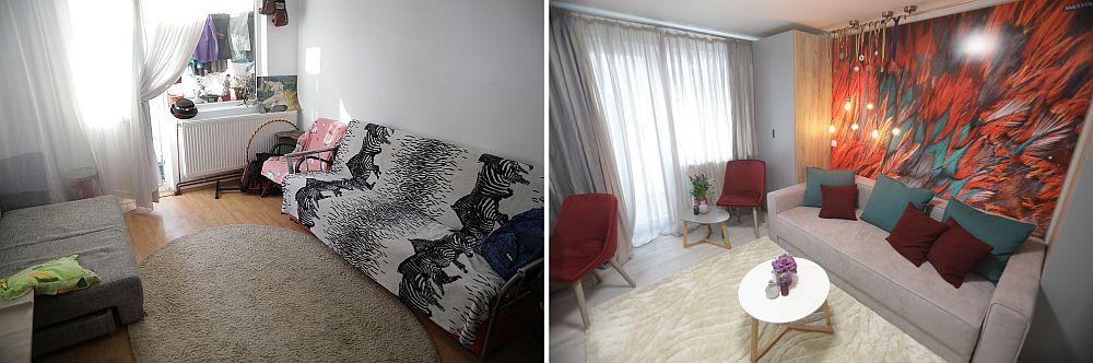 Livingul și camera fetelor (vedere către balcon) înainte și după renovarea făcută de către echipa Visuri la cheie.