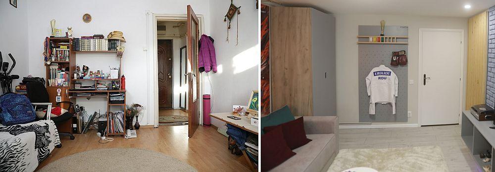 Livingul și camera fetelor (vedere către ușa livingului) înainte și după renovarea făcută de către echipa Visuri la cheie.