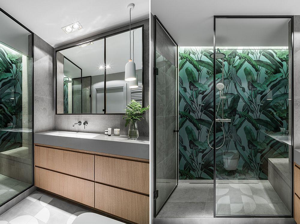 În zona de duș s-a montat un tapet rezistent în zonele umede, care are un motiv vegetal, în linie cu stilul urban jungle al locuinței.