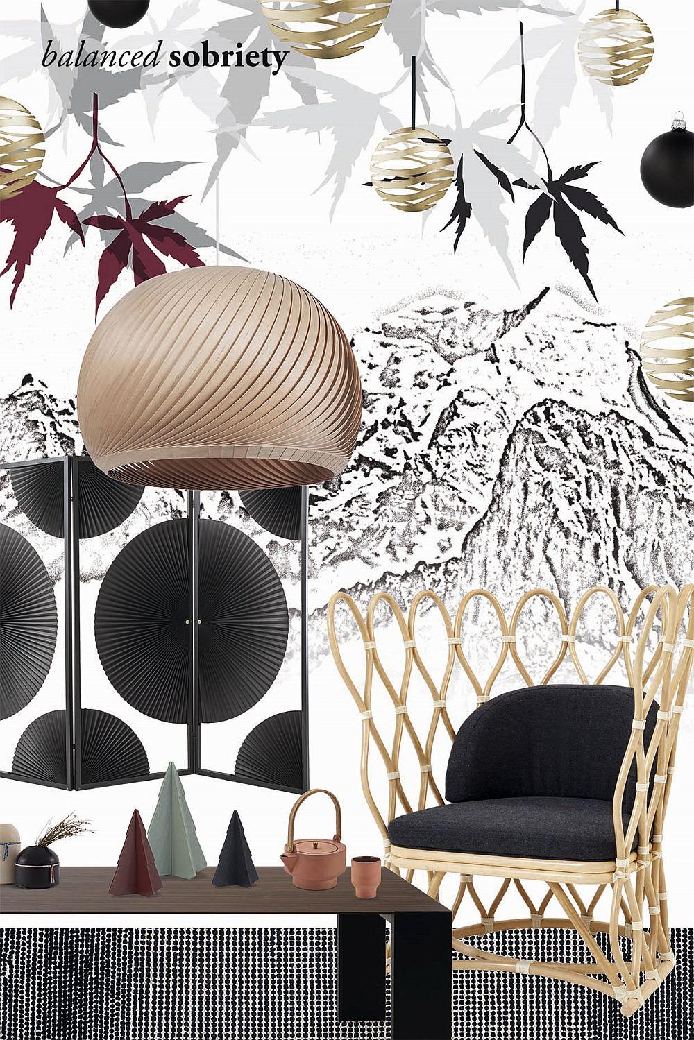 Trendul Sobrietate echilibrată este rezumat printr-un colaj aproape alb-negru, cu texturi metalice și din lemn și cu nuanțe potolite ca și accent din zona de turcoaz și arămiu. Un trend care vorbește despre liniște, meditație, naturalețe.