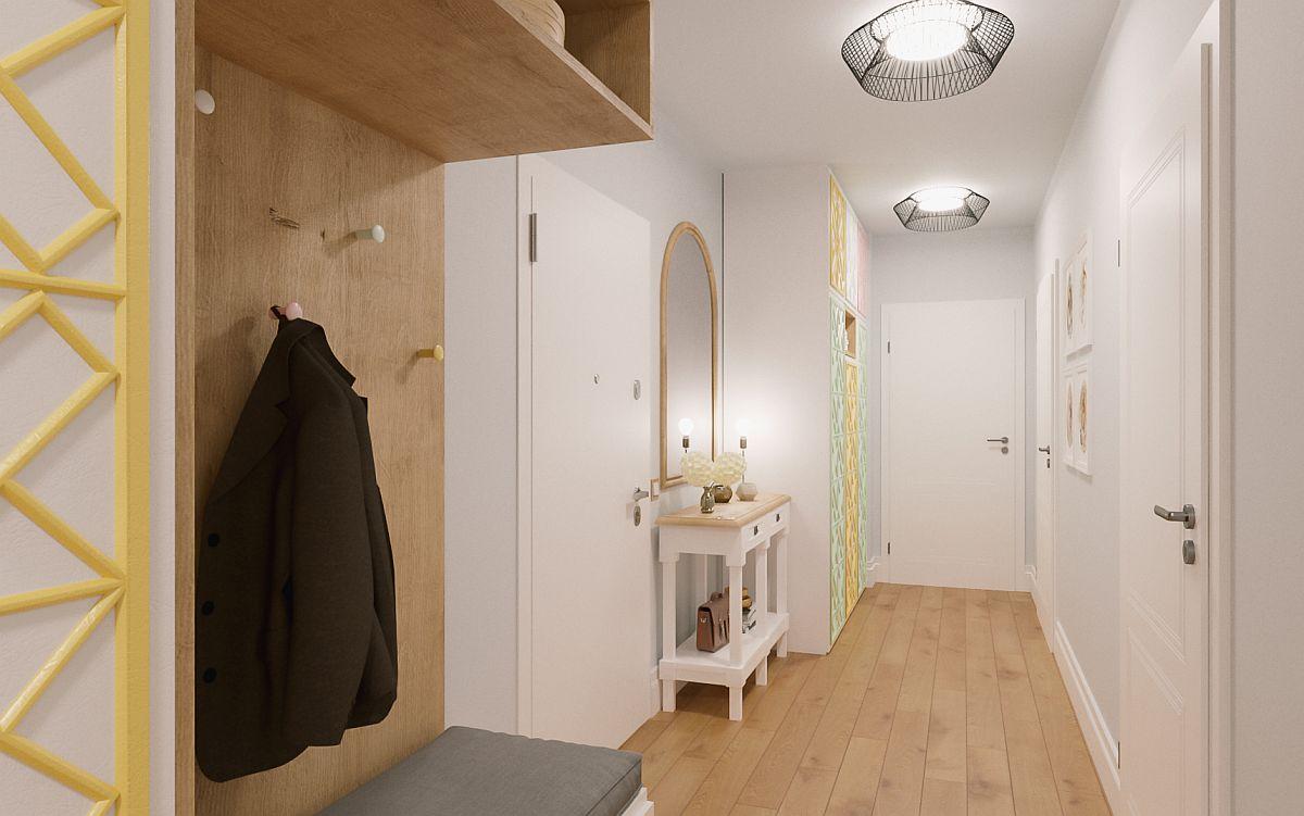 Imagine 3D dintr-un hol proiectat de către arh.Andreea Beșliu pentru unul dintre clienții noștri.