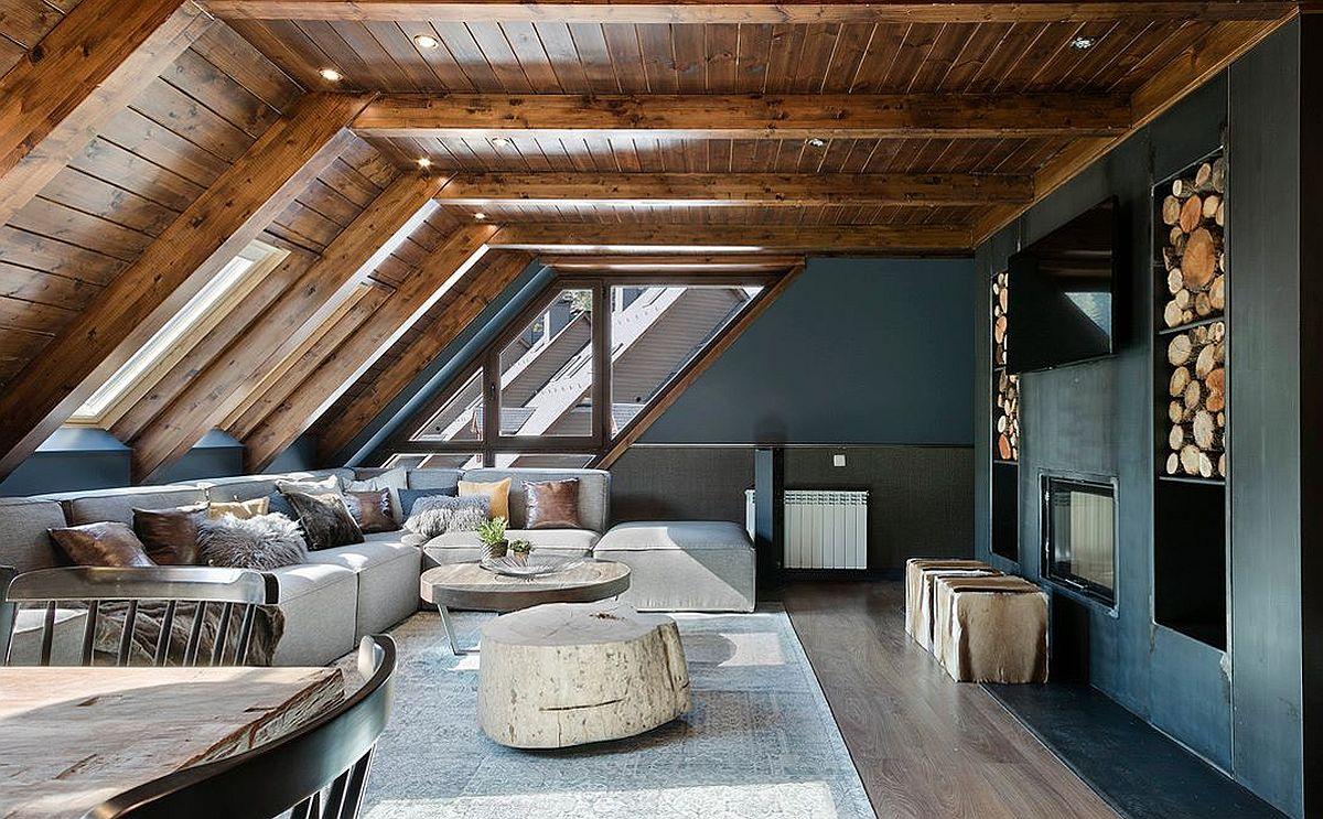 Suprafețele libere de perete, sunt vopsite într-o nuanță închisă, care se potrivește foarte bine cu nuanță brun roșcată a lemnului, dar și cu tâmplăria închisă. Tonurile închise dau senzația de cuib, de refugiu, unde căldura este imprimată de prezența lemnului.