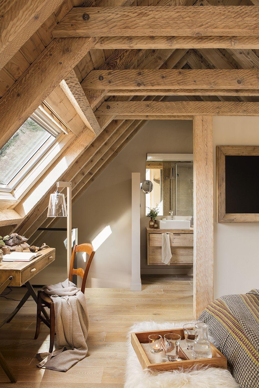 În dormitorul matrimonial baia nu este separată cu ușă, ci printr-un perete parțial, o soluție interesantă care dă aspectul de loft acestui spațiu de odihnă, dar fără a prejudicia intimitatea necesară din baie.