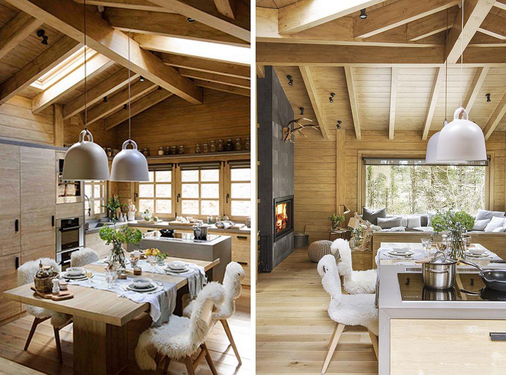 Este interesantă soluția amplasării mesei, respectiv susținută în corpul insulă al bucătăriei, iar către living având un singur picior, astfel ca în jurul blatului să existe suficient spațiu pentru șase scaune (chiar dacă în imagine sunt doar 4).