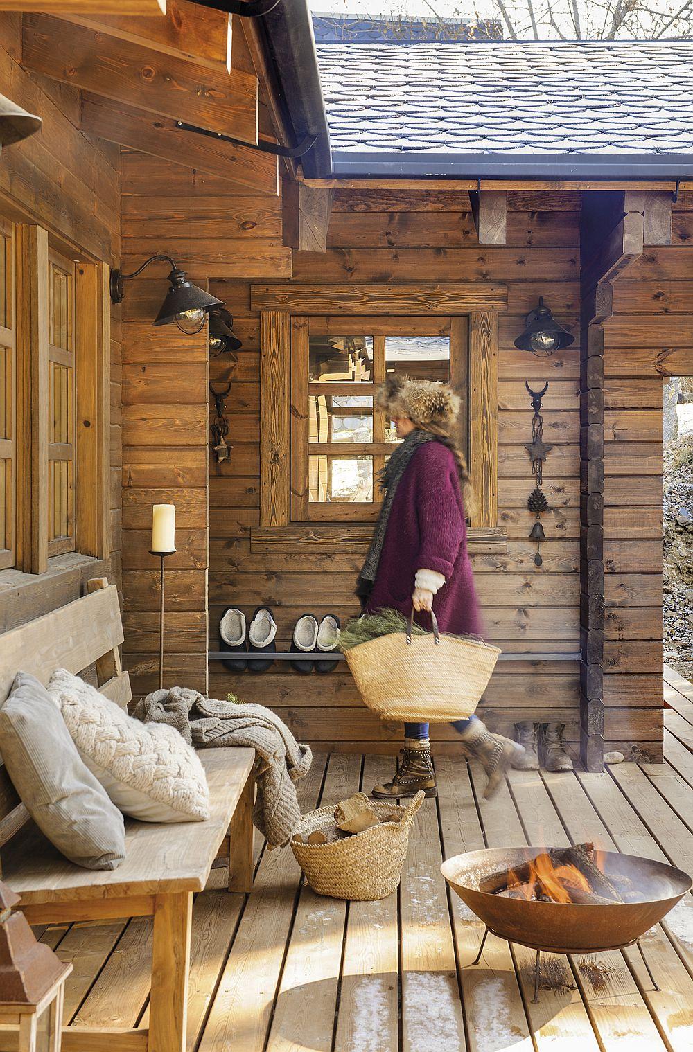 Și în sezonul rece, mai ales în zilele însorite, oamenii se pot relaxa pe terasă, mai ales când au și o sursă de căldură.