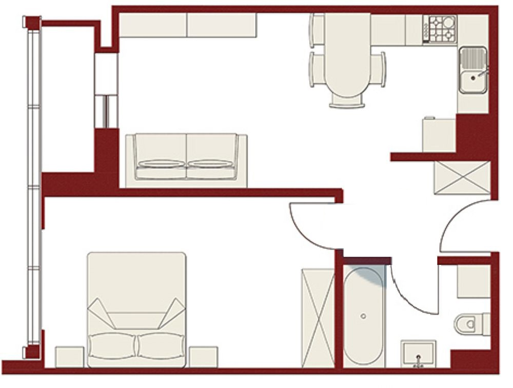 Au fost modificări mici față de planul inițial, respectiv spațiul dormitorului a fost altfel exploatat pentru a permite instalarea aici a unui dressing încăpător și a unui loc de birou. Peretele dintre spațiul de zi și dormitor a fost modificat pentru a se obține mai mult loc în camera de zi, dar și pentru mai multă depozitare.