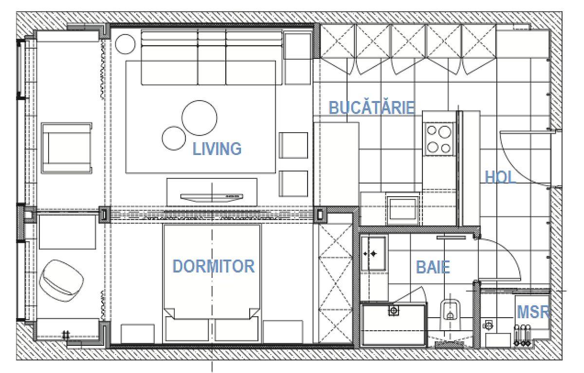 Apartamentul de două camere și cu suprafața de 50 mp avea inițial living deschis către bucătărie și dormitor separat cu pereți, având ușa de acces din living. În plus, înălțimea spațiilor este diferită, de la 3,6 metri în domritor la 2,75 în rest, lucru care trebuia luat în calcul. Designerul a reorganizat locul bucătăriei, a separat locul mașinii de spălat în hol pentur a nu fi inclus în baie, dar cea mai importantă modificare a fost să folosească delimitări cu sticlă. Astfel, bucătăria este separată față de hol cu panou de sticlă, ceea ce face ca de la intrarea în locuință totul să fie vizibil și să se simtă foarte luminos, între living și dormitor e un panou de sticlă cu perdele în spatele acestuia, iar zonele de la fereastră sunt și ele separate cu perdele vaporoase. Prin compartimentările cu sticlă și perdele designerul a adus la același nivel structurile de la nivelul plafonului, ceea ce ascunde diferențele de înălțime și s-a folosit de un plafon fals pentru a trage sistemul de ventialție și a camufla cablurile.