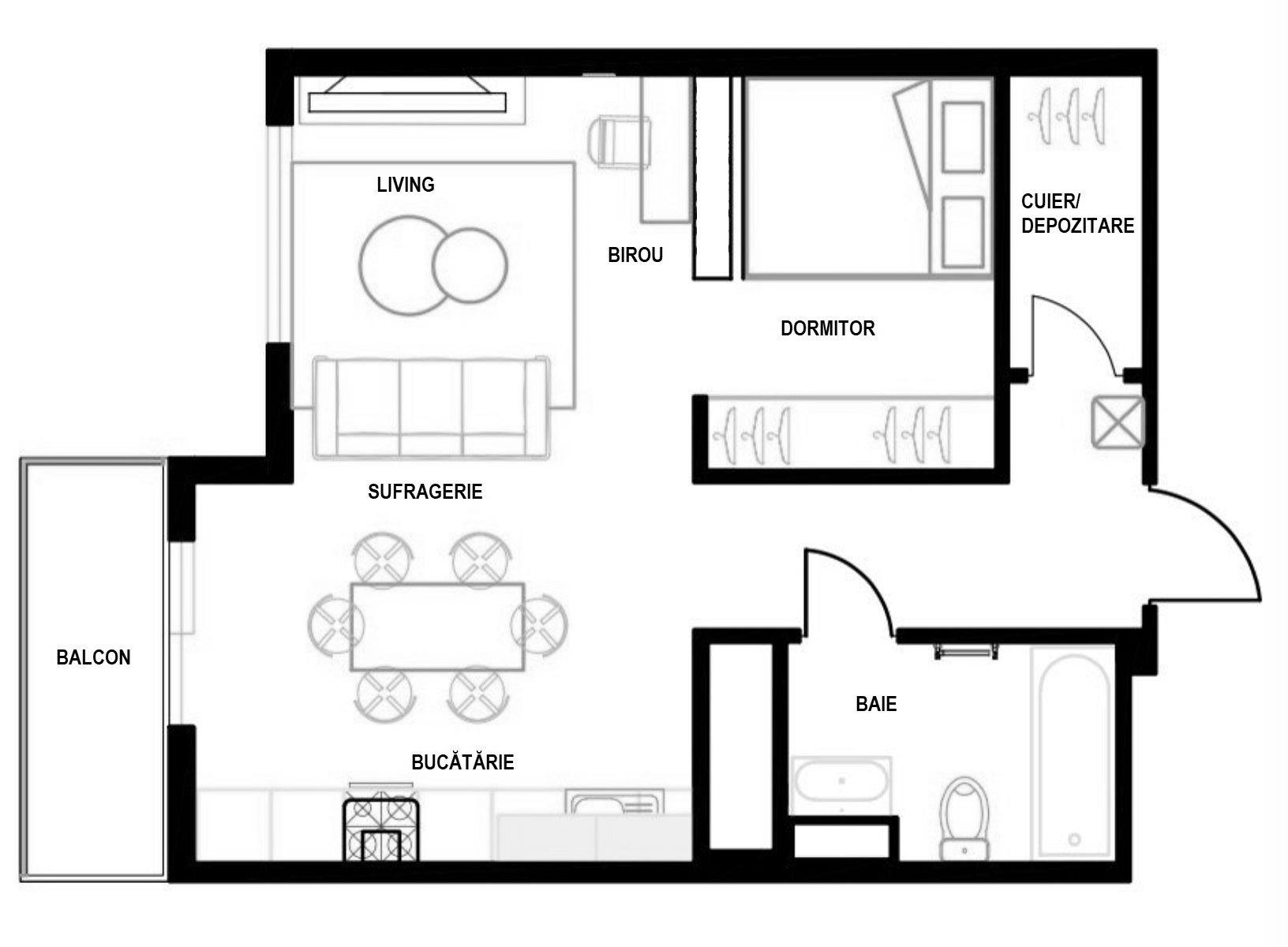 Inițial garsoniera avea bucătăria separată față de cameră, ambele funcțiuni având uși interioare care se deschideau din hol. Designerii au regândit compartimentarea, după expertiza tehnică, și au deschis bucătăria către living, iar în camera garsonierei au acomodat un loc de pat și un spațiu generos pentru un dulap încastrat. De asemenea, în zona de hol au prevăzut un spațiu închis pentru pantofi și cu rol de cuier, astfel ca aspectul locuinței să fie cât mai ordonat și cu cât mai pușine obiecte vestimentare la vedere.