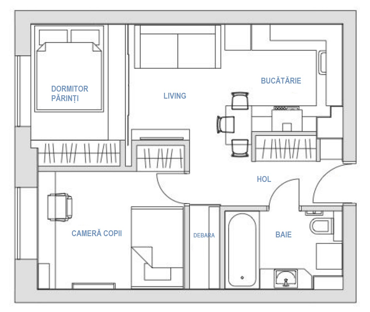Inișial locuința avea două camere, din care livingul era deschis către bucătărie. Designerul a prevăzut ca dormitorul părinților să fie amenajat în dreptul ferestrei din living și să fie separat față de cameră prin uși culisante. De asemenea, în camera copiilor, designerul s-a folosit de înălțimea de 3 metri a locuinței pentru a amplasa un pat dublu etajat pentru ambii copii, astfel ca sub pat să existe loc de joacă și bibliotecă, iar în dreptul ferestrei loc de birou. Spațiile de depozitare au fost create pe mijlocul aparamentului, respectiv dulap în dormitorul părinților, dulap în camera copiilor, dulap pe hol, la care se adaugă debaraua obținută după recompartimentarea camerei copiilor (care a fost ușor micșorată). Spațiul bucătăriei a fost și el regândit pentru ca această funcțiune să fie cât mai generoasă.