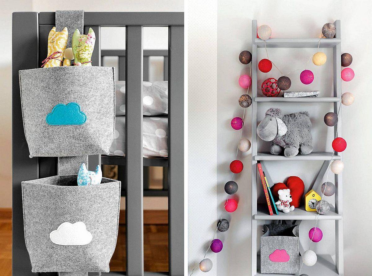 Cea mai simplă metodă pentru o cameră de bebeluș este ca suprafețele mari de perete să fie într-o nuanță luminoasă de gri. Cu ajutorul accesoriilor colorate camera se înveselește repede. Dar și accesoriile mici pot fi folosite mult timp, dacă sunt bine alese. O etajeră sub formă de scară precum și depozitări mici similare unor buzunare din fetru pot fi pe placul copilului cel puțin până la vârsta adolescenței.