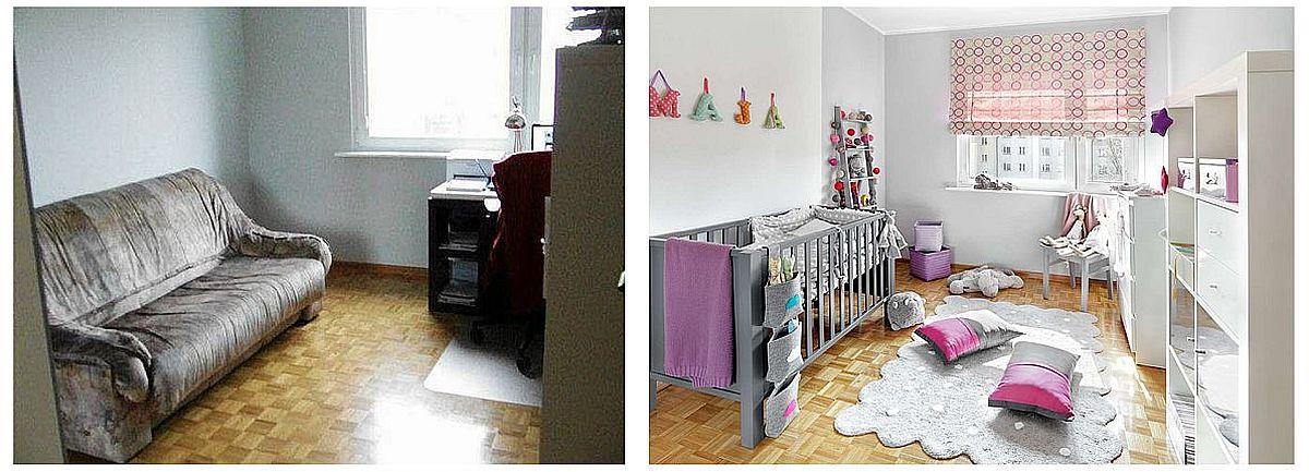 ÎNAINTE, al doilea dormitor a fost mobilat provizoriu cu o canapea extensibilă veche și un birou, dar finisajele au fost schimbate ca în restul casei, cu parchet pe jos și cu o zugrăveală în nuanță de gri. DUPĂ redecorare finisajele au fost păstrate, dar reîmprospătate. Nuanța de gri i s-a părut tinerei mame prea puțin feminină, dar adevărul este că griurile se potrivesc bine cu orice culoare. Ca atare, designerul care s-a ocupat de amenajare a recomandat ca și pătuțul să fie ales într-o nuanță de gri, iar accesorii mici colorate în tonuri de roz, fiind camera unei fetițe.