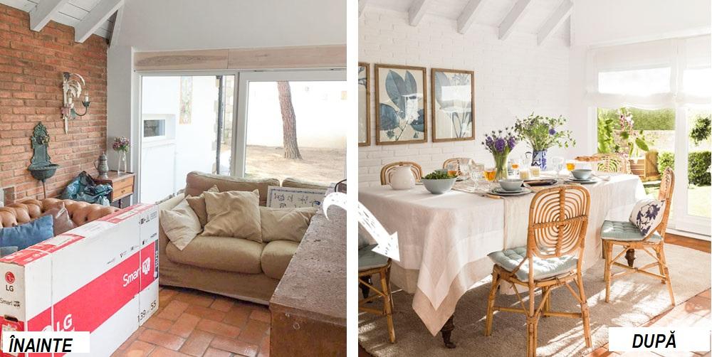 În zona locului de luat masa erau inițial canapele, dar decoratoarele au mutat locul sufrageriei către fereastră, unde lumina naturală este mai intensă, ceea ce conferă o stare de bine când te așezi să savurezi un preparat bun. În zonaă peretele era placat cu cărămidă, dar decoratoarele au prevăzut ca aceasta să fie vopsită în alb. De asemenea, tot albe sunt și storurile pentru a nu crea contraste între pereți, plafon și zona ferestrelor, deci cât mai puține fragmentări pe verticală pentru a echilibra percepția asupra spațiului. De asemenea, pardoseala a fost acoperită în zonă cu un covor simplu achiziționat de la IKEA, iar scaunele inițial de grădină au fost aduse în sufragerie pentru un aer marin, conform temei dorite de către proprietară.