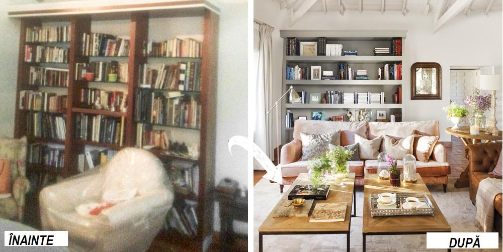 O mare parte din piesele de mobilier au fost revopsite și repoziționate în ambient. Spre exemplu biblioteca existentă inițial a fost vopsită în nuanță de gri colorat cu vopsea de tip Chalk achiziționată de la Leroy Merlin, vopsea care i-a dat bibliotecii un aspect nou, mat, iar culoarea este pastelată, frumos integrată în ambient .