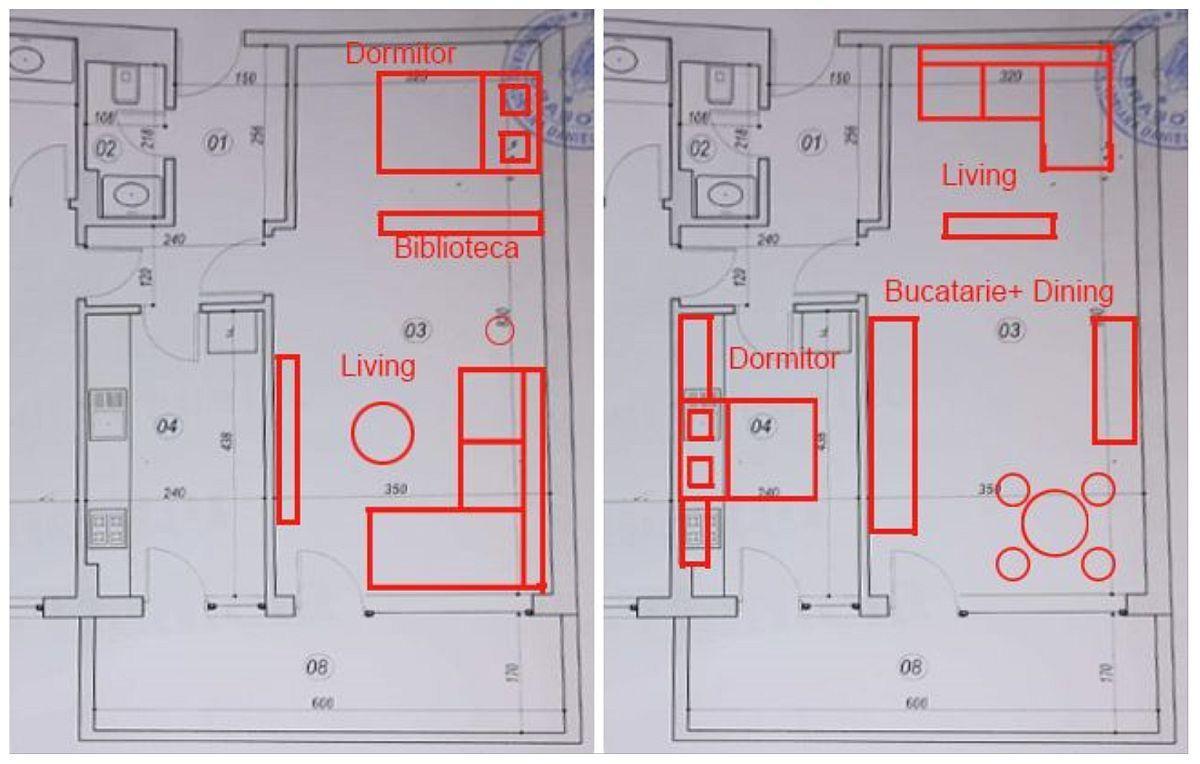 În prima propunere este reprezentată o posibilă soluție pentru separarea parțială a livingului în două, astfel ca prima parte, mai aproape de baie să devină dormitor. Separarea se poate face doar parțial în sensul unui mobilier sau paravan fix pentru a lăsa lumina naturală să treacă, la fel și aerul să circule pentru o bună ventilare. În a doua propunere, dacă e posibilă mutarea instalațiilor din bucătărie, amenajarea posibilă ar fi mutarea bucătăriei în spațiul actualului living și crearea unui living deschis cu bucătăria, astfel ca bucătăria inițială să poată fi transformată în dormitor.