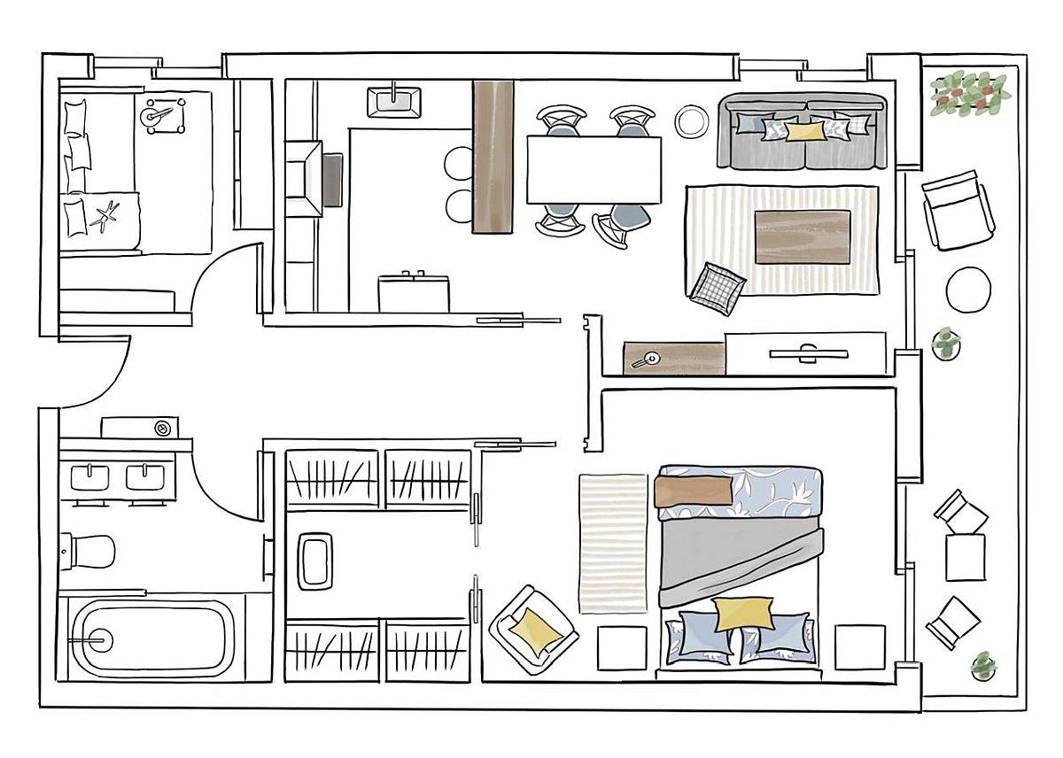 Înainte de renovare, în locul camerei copilului era bucătăria, dar instalațiile poziționate pe latura cu ușa de intrare. Unde este acum bucătăria era livingul, iar în locul dressingului exista o baie. După renovare în locul fostei bucătării a fost făcută camera copilului, iar spațiul de gătit a fost mutat înspre living. Dressingul este acum încorporat în ansamblul dormitorului, chiar dacă spațiul de depozitare pe hol a fost practic eliminat.