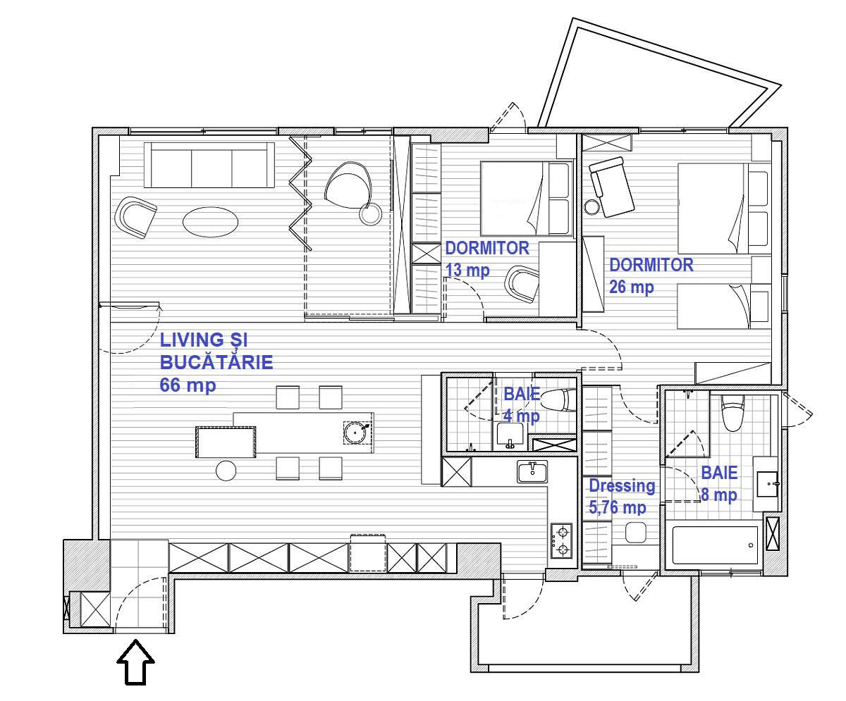 Intrarea în apartament se face direct în zona de zi, unde bucătăria este deschisă către living. Spațiul de gătit, unde cu plită, hotă este oarecum separat de zona deschisă. Dormitorul matrimonial este generos pentru că aici a fost multă vreme instalat pătuțul unuia dintre copii. De asemenea, dormitorul matrimonial are propria baie și propriul dressing. Practic, arhitecții au avut în vedere o organizare cât mai eficientă și ordonată a spațiilor de depozitare pentru ca în rest amenajarea să fie cât mai aerisită.