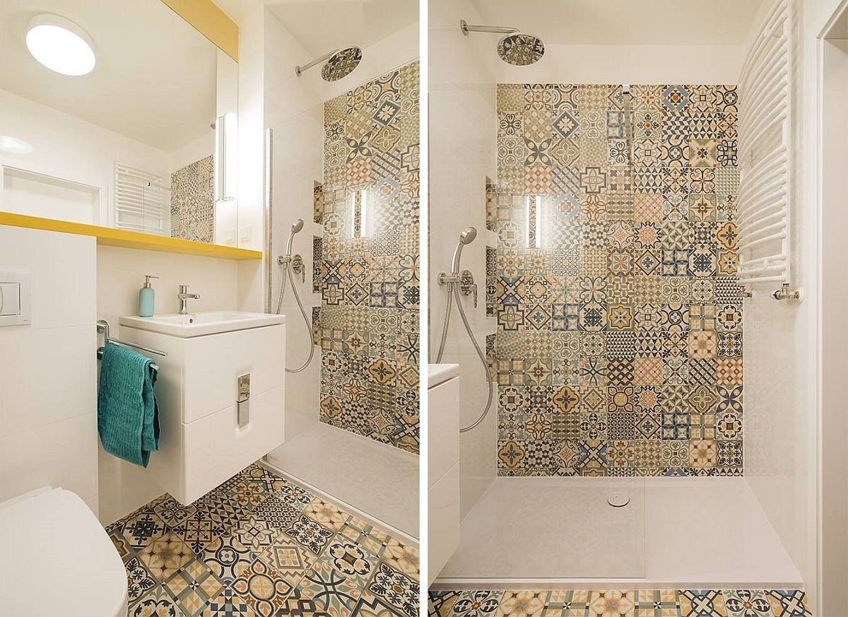 Pardosela ca și peretele din zona dușului sunt îmbrăcate cu faianță colorată de tip patchwork ceea ce dă un aer vivace băii. Dușul nu a putut fi făcut cu rigola îngropată, ca atare s-a ales o cădiță de duș slim.