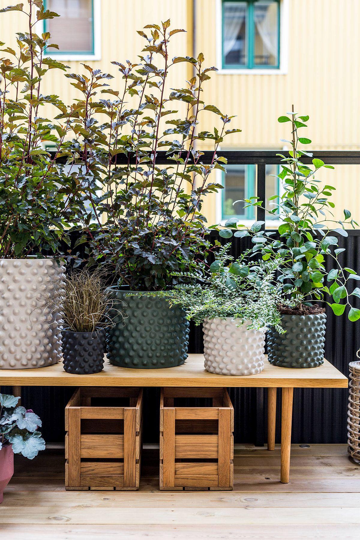 Contează mult nu doar plantele, ci și ghivecele și măștile de ghivece, mai ales dacă plantele urmează să fie transferate în casă pe timpul sezonului rece. De multe ori aspectul unui balcon este alterat de imaginea ghivecelor de plastic, care arată ieftin și neîngrijit. De asemenea, ia în considerare o așezare etajată, o masă îngustă, dar înaltă poate aduce plantele la un nivel al privirii, deci să fie mai vizibile, iar de desubt căștigi spațiu de depozitare. Sper să te inspire și pe tine!