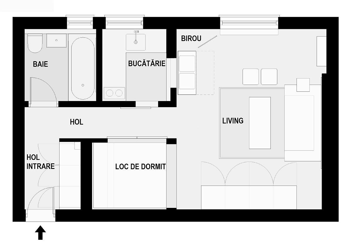 Inițial locuința avea doar baia separată, bucătăria fiind deschisă către cameră. Designerii care s-au ocupat de locuință au configurat bucătăria separată, folosindu-se de fereastra mică existentă. Bucătăria este separată cu o ușă culisantă. De asemenea, locul de dormit, deși la vedere, este delimitat cu panouri decorative față de hol, iar dulapul de haine așezat în imediata apropiere. Un alt lucru bun în organizarea de față este mobila de la intrarea în casă, respectiv un spațiu închis pentru haine și pantofi.