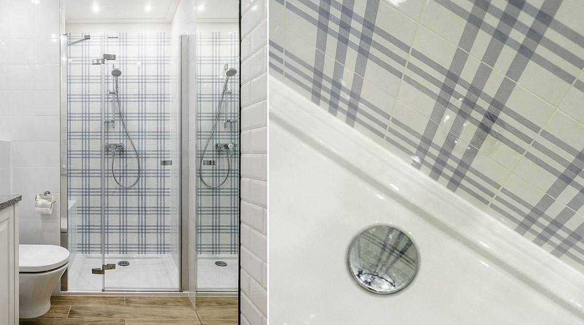 S-a dorit un duș cu rigolă îngropată, dar apartamentul fiind la bloc nu se putea monta rigola în planșeul. Soluția a fost alegerea unei cabine de duș cu cădiță slim. Zona dușului a fost personalizată cu o faianță care imită imprimeul unui tapet în carouri.