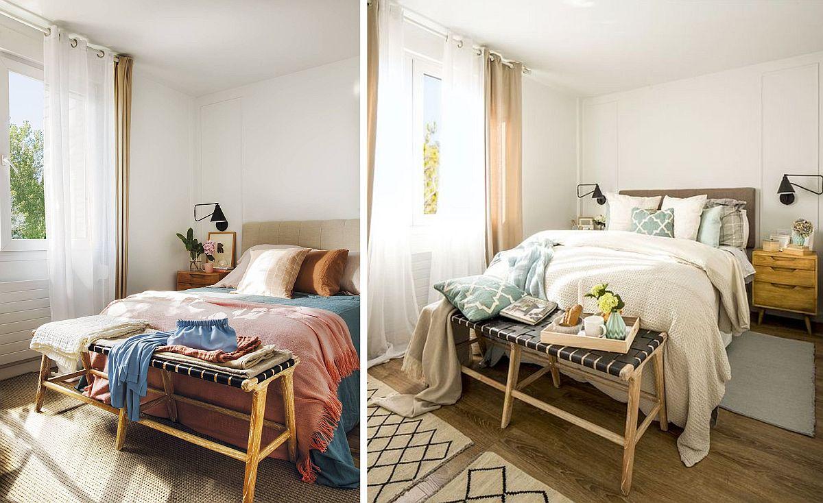 Dormitorul matrimonial este simplu și funcțional amenajat, dar atmosfera lui poate fi ușor schimbată cu ajutorul lenjeriei de pat, a cuverturilor, pernelor decorative și a micilor carpete. Deși mobila și draperiile sunt aceleași, prin schimbarea decorațiunilor textile pare că și culorile din dormitor sunt diferite.