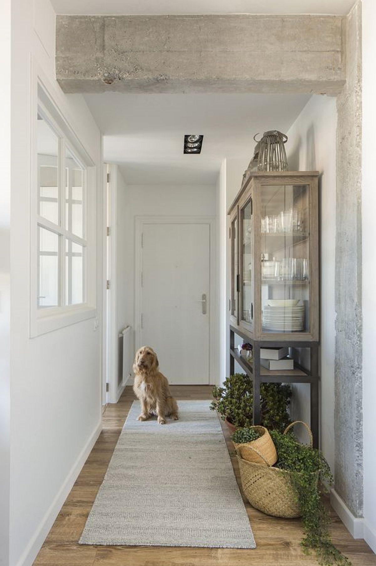 Intrarea în locuință se face pe un hol , care intițial era foarte lung, dinacest spațiu de trecere deschizându-se toate camerele. Pentru ca bucătăria să fie și mai luminoasă, peretele dinspre hol a fost decupat cu o fereastră falsă, iar ușa interioară a fost comandată cu sticlă. Un truc decorativ aplicat de către designer a fost decopertarea grinzilor și finisarea lor cu lac mat pentru a aduce un plus de textură și a sublinia lățimea holului lung și îngust.