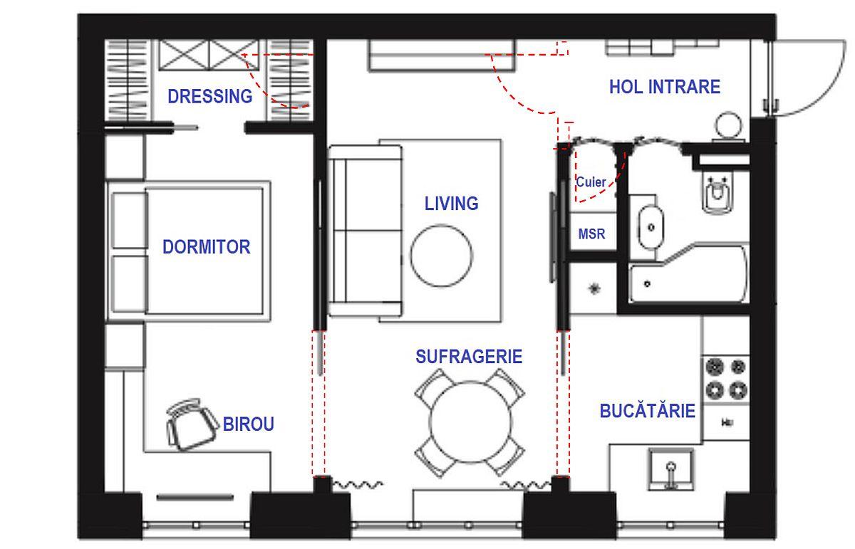 Înainte de reamenajare din holul de la intrare se făcea accesul în baie, bucătărie, cameră. După reorganizarea spațiului, coridorul către bucătărie a fost folosit pentru amplasarea mașinii de spălat către hol și pentru frigider în spațiul bucătărie. Ușa către cameră a fost desființată, astfel că acum, după reamenajare se accede din camera de zi în bucătărie și dormitor. Spațiile sunt separate cu panouri culisante ceea ce economisește spațiu, dar și asigură mai multă lumină peste tot. În dormitor a fost reconfigurat de asemenea accesul, iar în dreptul fostei uși interioare s-a creat loc pentru un dressing. Aparent nu sunt modificări mari, dar ele au schimbat radical funcționalitatea întregii locuințe.