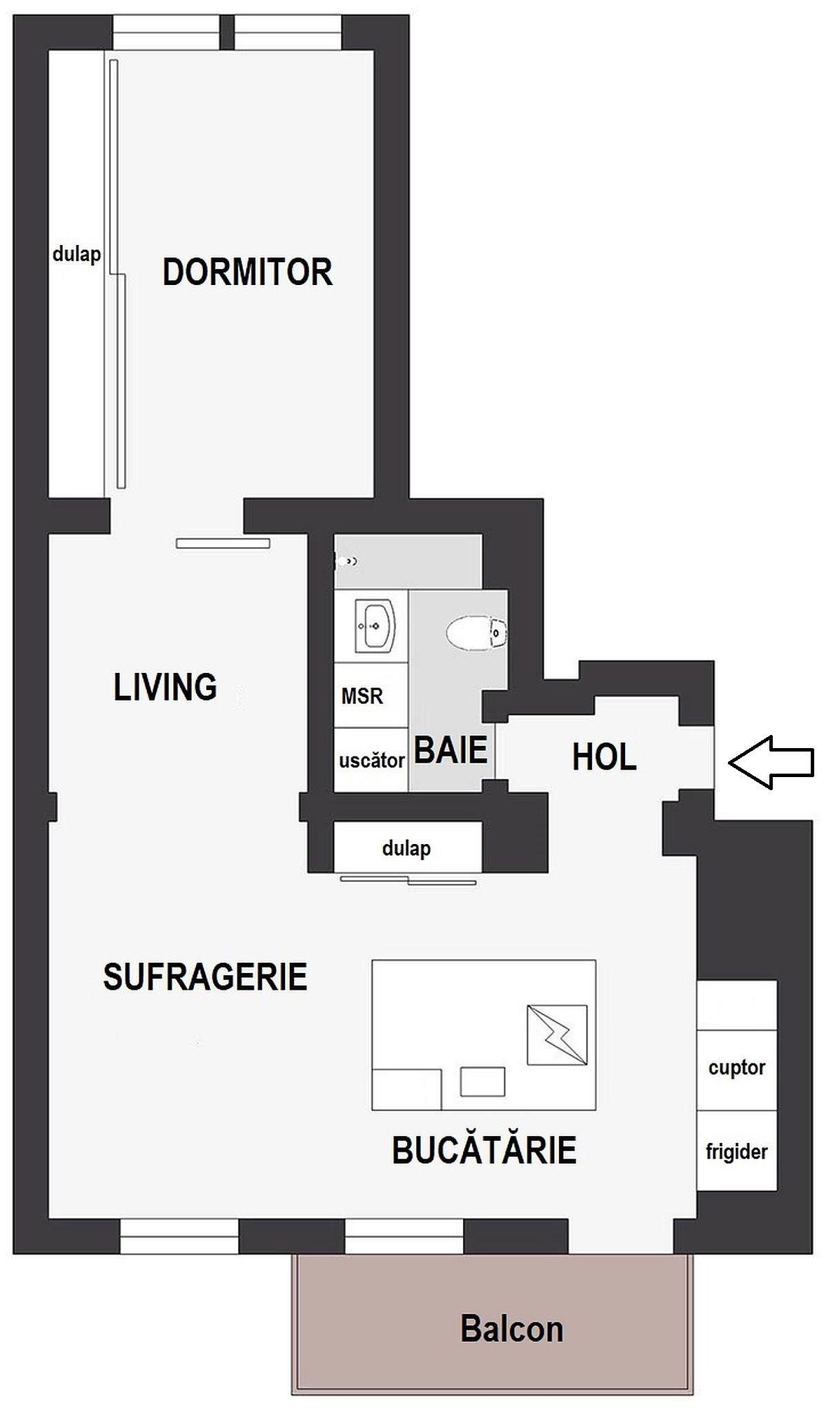 După reamenajare cea mai generoasă cameră a fost alocată dormitorului, unde spațiul de depozitare este simplu, dar excelent configurat și foarte încăpător. Zona de living este la granița dintre zona de odihnă și sufragerie, locul cel mai întunecos fiind numai bunpentru amplasarea televizorului. Către zona de intrare în casă tot planul este deschis, ceea ce contribuie la o mai bună circulație de a luminii naturale.