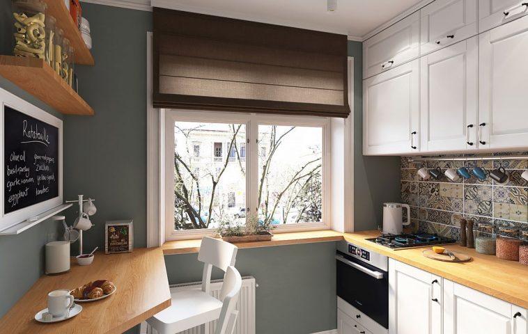 Zona de masă într-o bucătărie mică poate fi configurată sub forma uneia de tip bar. Aici designerul a propus o legătură între blatul de lucru, glaful ferestrei și blatul mesei pentru a oferi coerență spațiului și senzația de prelungirea a suprafețelor de depozitare. Combinație de culori plăcută, mult alb pentru luminozitate și texturi similare lemnului pentru căldură Sper să te inspire și pe tine!