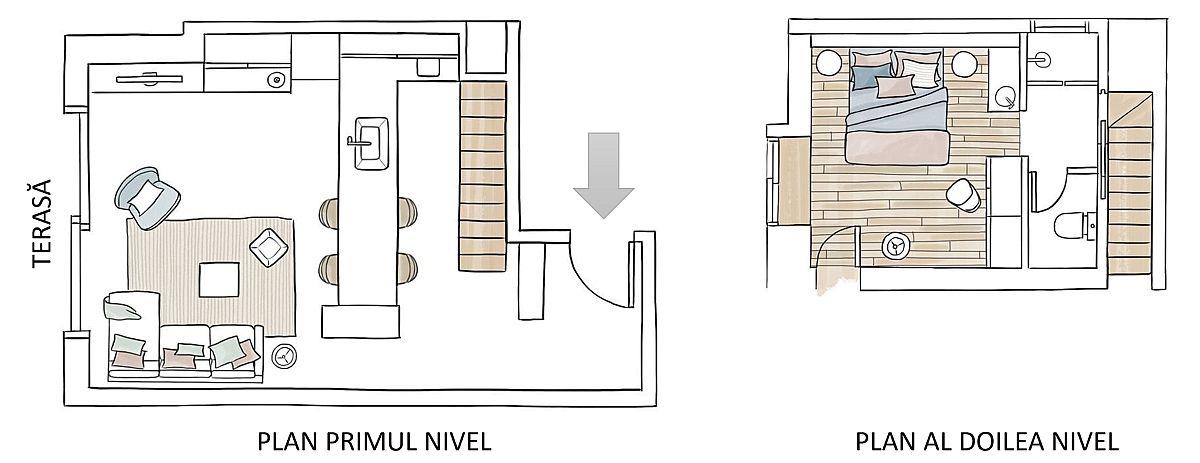 Inițial scara interioară era situată pe actual loc al peninsulei bucătăriei. Designerul a mutat scara perimetral, astfel ca sub ea să poată adăposti mare parte din mobila de bucătărie și electrocasnicele mari. Diferența de nivel din cameră a fost mascată de biblioteca din capătul bucătăriei și de poziționarea mesei la care se poate sta pe scaune de bar. La etaj, modificările de spațiu cu scara au pus probleme pentru amenajarea băii. Soluția a fost împărțirea camerei de baie în trei zone distincte, între toaletă și duș fiind creat culoar de circulație către dormitor, iar locul de lavoar fiind așezat la vedere în spațiul de odihnă.